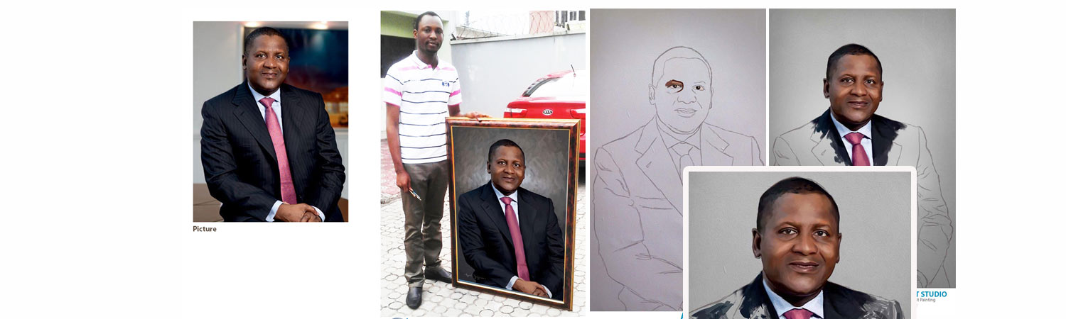aliko dangote portrait painting banner Mike Adenuga portrait painting by Ayeola Ayodeji