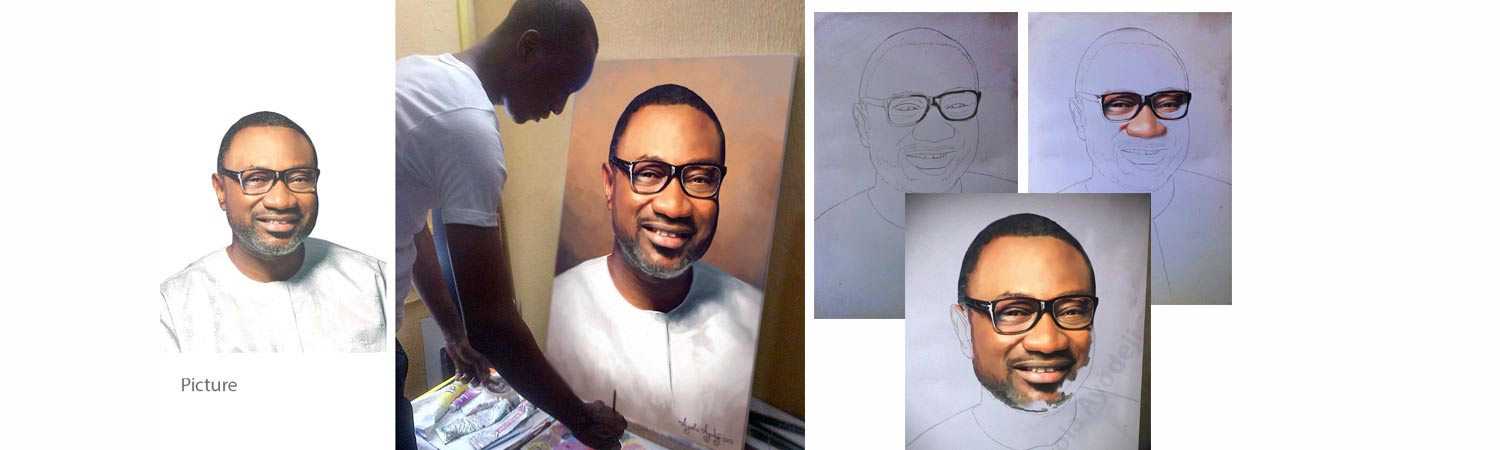 femi otedola painting banner cost of portrait in nigeria