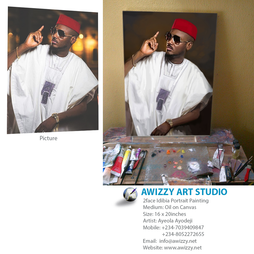 2face Idibia portrait painting by artist ayeola ayodeji cost of portrait in nigeria