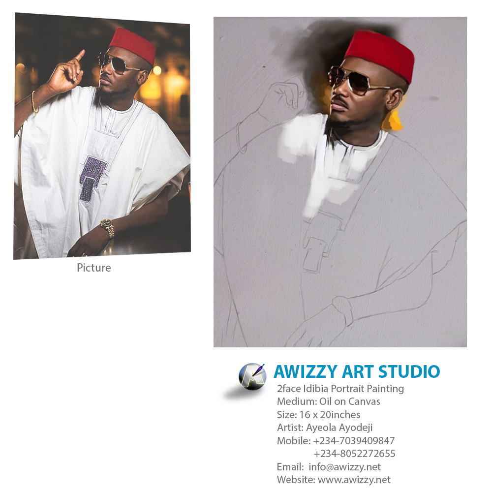 Tuface 2baba 2face portrait art drawing painting