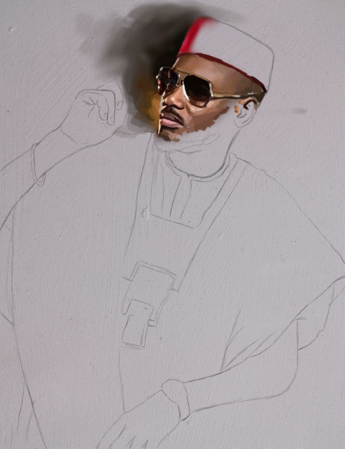 2face painting 2 Tuface 2baba 2face idibia portrait painting