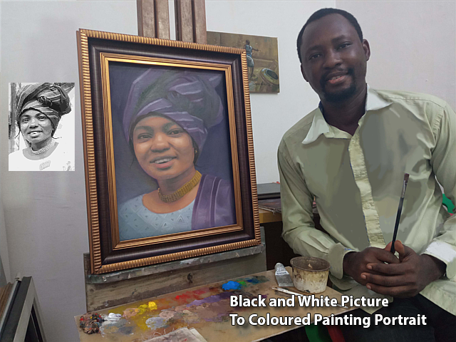 portrait painting artists painted old Black and white picture to color portrait painting